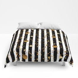Stripes & Gold Splatter Comforters