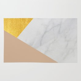 Carrara Marble with Gold and Pantone Hazelnut Color Rug