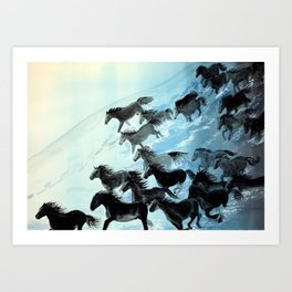 Horses In Surf Art Print