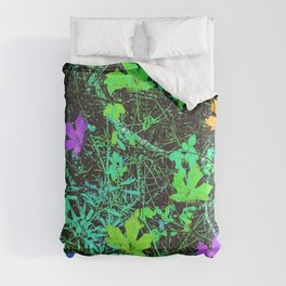 maple leaf in pink blue green orange with green creepers plants Comforters