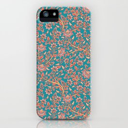 Flowers on Turquoise Background. iPhone Case