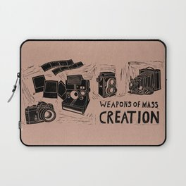 Weapons Of Mass Creation - Photography (blk on brown) Laptop Sleeve