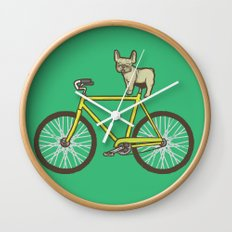 Frenchie on a Fixie Wall Clock
