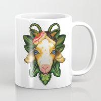 junk food Mugs featuring Junk Goat by FreakFlag