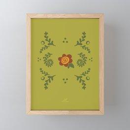 Ferny Floral Garden, Enchanted Garden  |  Green Orange Framed Mini Art Print