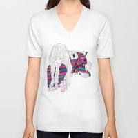 wolf V-neck T-shirts featuring ▲SHE-WOLF▲ by Kris Tate