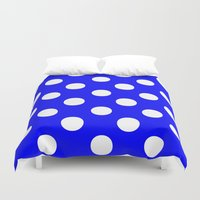 polka Duvet Covers featuring Polka Dots (White/Blue) by 10813 Apparel