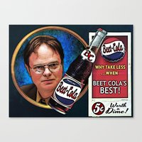 dwight schrute Canvas Prints featuring Dwight Schrute  |  Beet Cola Advertisement by Silvio Ledbetter