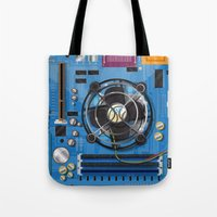 computer Tote Bags featuring Computer Motherboard by Nick's Emporium Gallery