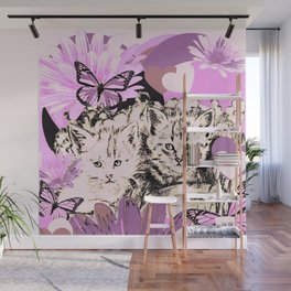 Frieda's Baby Cats in Pink Wall Mural