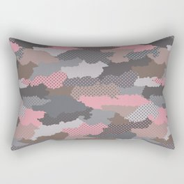 Retro modern camouflage military hand drawn illustration pattern Rectangular Pillow