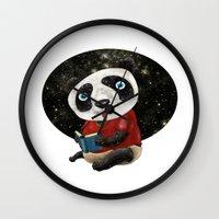 red panda Wall Clocks featuring Panda by gunberk