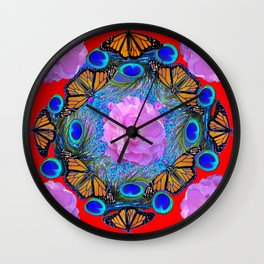 MONARCH BUTTERFLIES & ROSES  PEACOCK ART & RED ABSTRACT Wall Clock