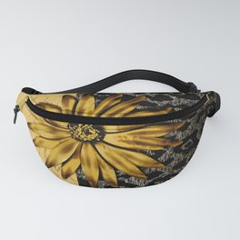 ANIMAL PRINT BLACK AND GOLD FLOWER MEDALLION Fanny Pack