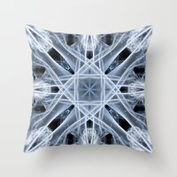 snowflake Throw Pillows featuring Snowflake by Steve Purnell