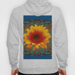 Teal Red Golden Sunflowers Yellow Pattern Art Hoody