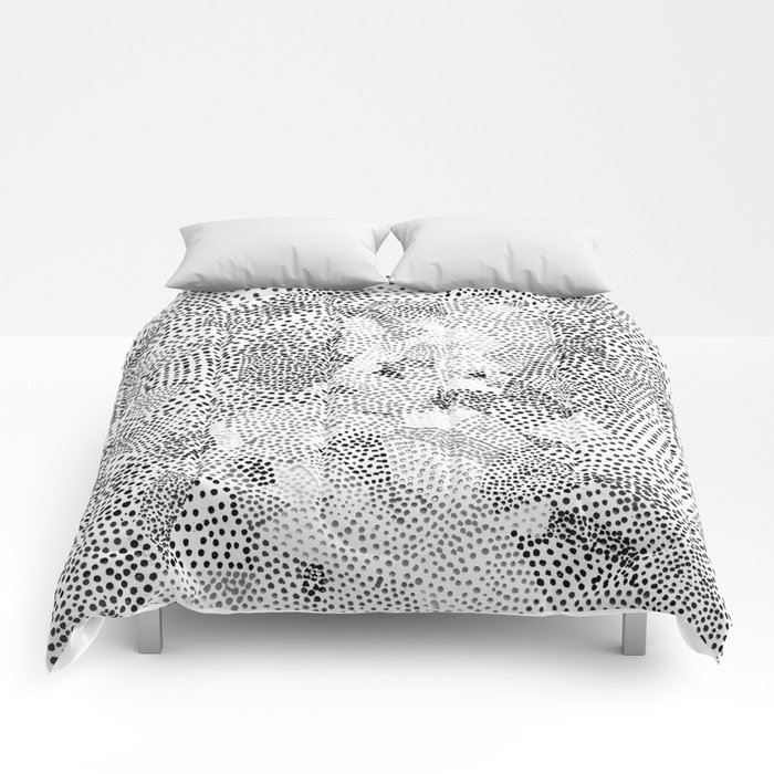 Dot Matrix BW | Abstract Geometric Comforters