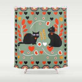 Romantic cats Shower Curtain
