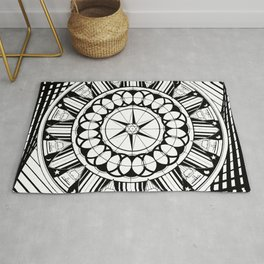 Knights Kings of Round Table Black and White Geometric Astrological Star Moon Circle Man Rug