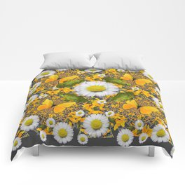 GREEN FROGS & YELLOW  BUTTERFLY WHITE DAISIES Comforters