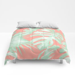 Island Love Coral Pink + Light Green Comforters