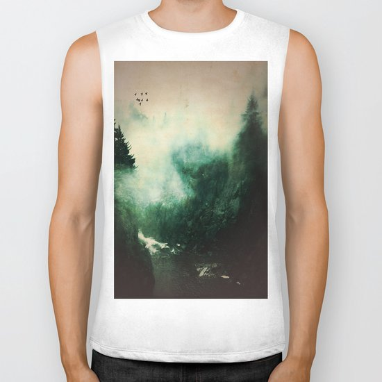 Morning dust on Mountains - Forest Wood Tree Biker Tank