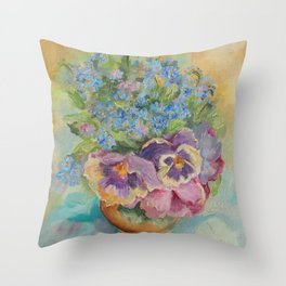 Pansies and Nots Blue flowers Classic still life impressionistic painting Throw Pillow