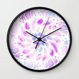 Iridescent Dreamcatcher Feathers Mandala - Boho Meditation Wall Clock