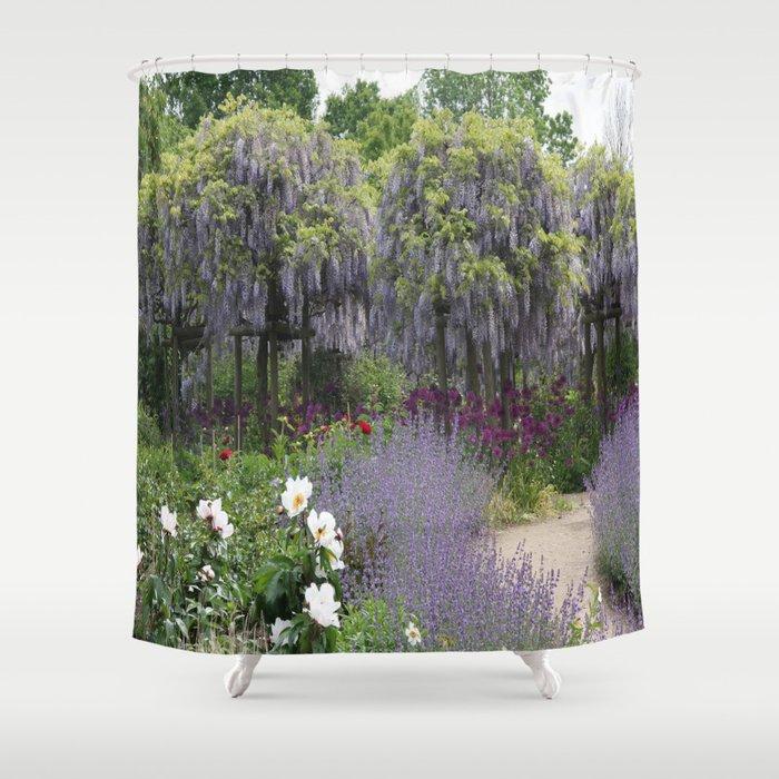 Blue Flowergarden With Wisteria Shower Curtain By Christianeschulze