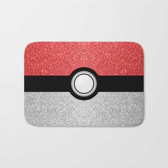 Sparkly red and silver sparkles poke ball Bath Mat