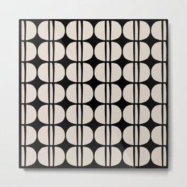 Mid Century Modern Geometric Pattern 157 Black and Linen White Metal Print