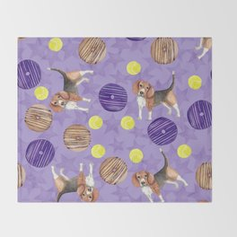 Beagles and donuts Throw Blanket