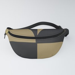 Diamond Series Round Checkers Charcoal on Gold Fanny Pack