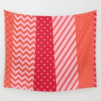 tape Wall Tapestries featuring Red Tape by colorbee