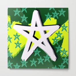 Night Stars Green Pahagh Metal Print