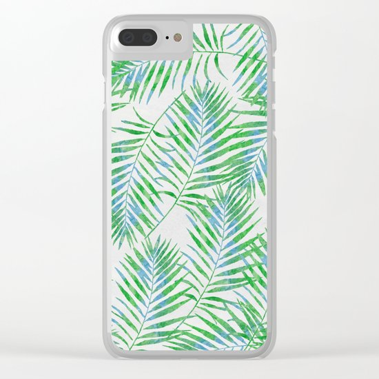 Fern Leaves Grey Clear iPhone Case
