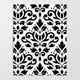 Scroll Damask Large Pattern Black on White Poster