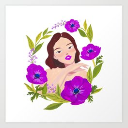 Girl and Anemone Art Print