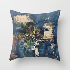 Peacock Blue Abstract Painting Vibrant Modern Art  Throw Pillow