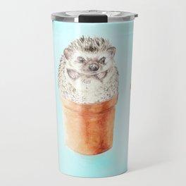 Hedgehog Watercolor Cactus Terra Cotta Pots Travel Mug
