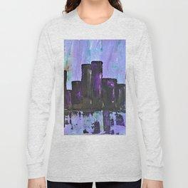 Purple City. Cyber Punk City. Jodilynpaintings Purple City Abstract Long Sleeve T-shirt