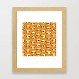 Cat pattern in mustard background Framed Art Print