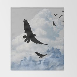 BLACK CROWS IN CLOUDY SKIES ART Throw Blanket