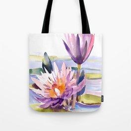 Water Lily,  Lotus, Asian Ink drawing Zen brush pink purple flower Tote Bag