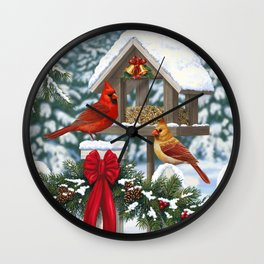 Red Cardinals and Christmas Bird Feeder Wall Clock