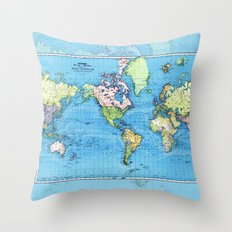 Mercator Map of Ocean Currents Throw Pillow