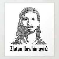 zlatan Art Prints featuring Zlatan  by christoph_loves_drawing