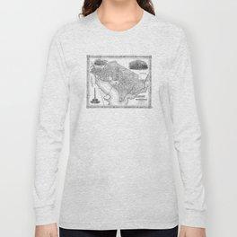 Vintage Map of Washington D.C. (1866) BW Long Sleeve T-shirt