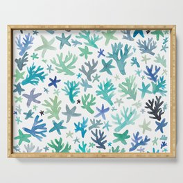 Coral & Starfish Pattern print - pure ocean Serving Tray