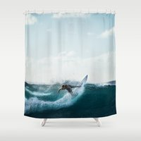 surfing Shower Curtains featuring Surfing  by Limitless Design